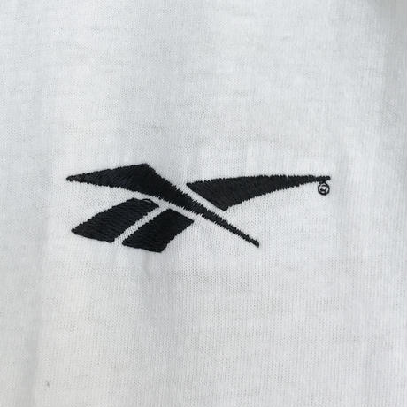 90's Reebok / One Point Embroidered Tee / White / Used
