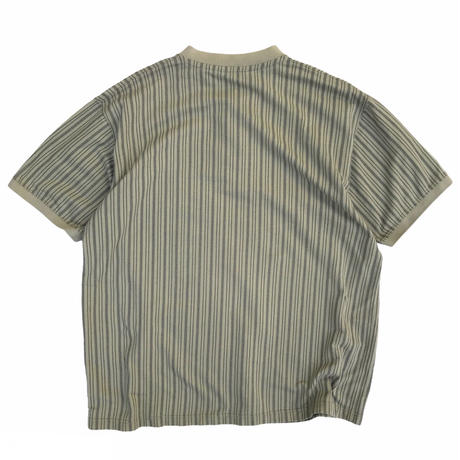 90's Eddie Bauer / Henley Neck Cotton Striped Tee / Khaki / Used