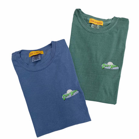 Color at Against Originals / Mother Ship Embroidery Tee / Indigo Blue,Forest