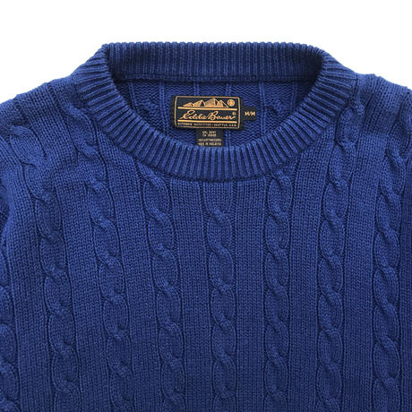80s Eddie Bauer / Pullover Cotton Cable Knit Sweater / Navy / Used