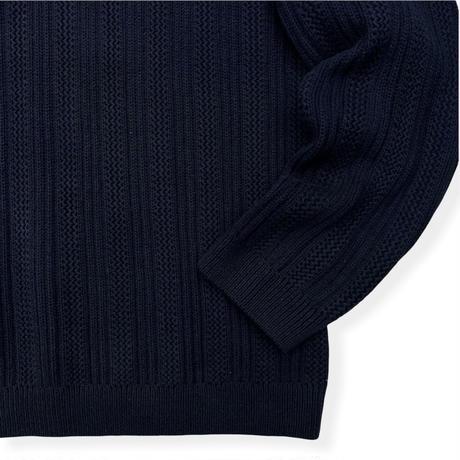 90's Eddie Bauer / Cotton Knit / Navy L / Used