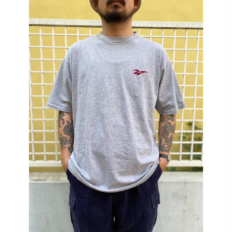 Made in USA / 90's Reebok / One Point Embroidered Tee / Grey / Used