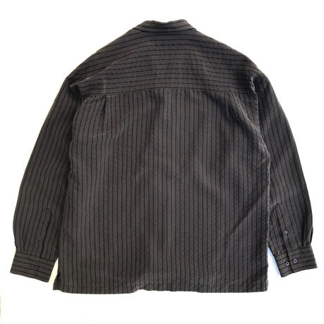 Haggar / Open Collar Striped Shirt / Grey / Used