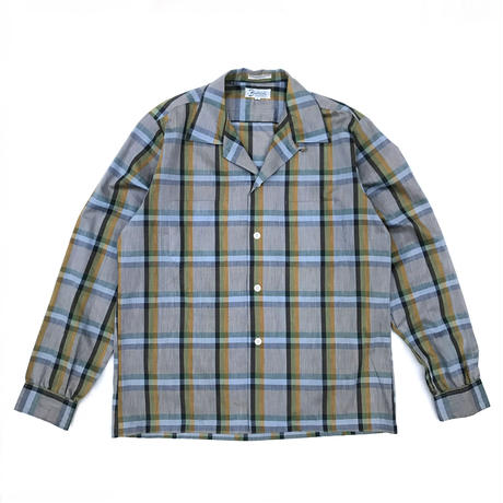 Vintage  L/S Open Collar Shirt / Grey Check / Used