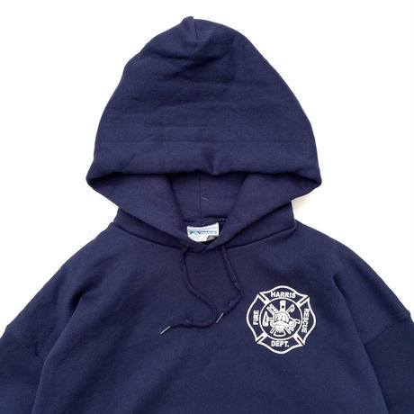 Made in USA / 90s DISCUS / Pullover Sweat Parka / Navy / Used