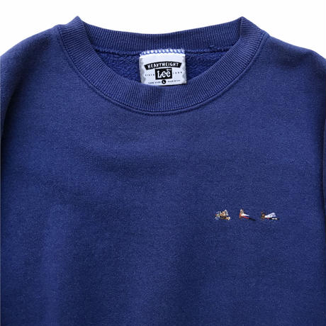Made in USA / 90's Lee / Fly Embroidered Sweat / Blue L / Used