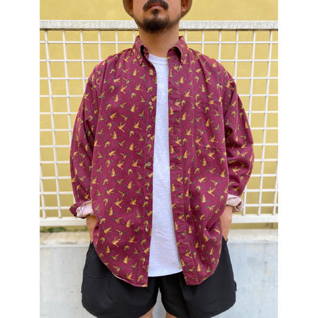 Duck Unlimited / Duck Patterned B.D. Shirt / Burgundy XL/ Used