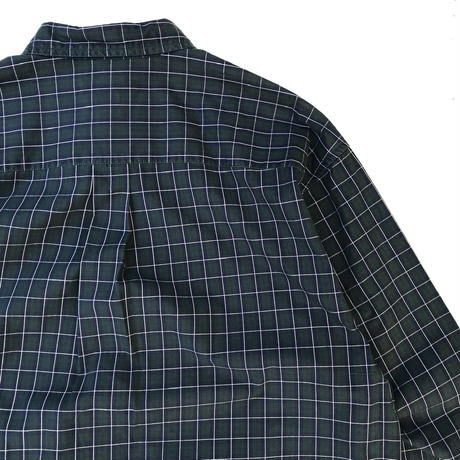 00s Eddie Bauer / Cotton B.D Check Shirt / Navy × Green / Used