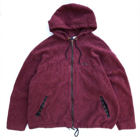 80s L.L.Bean / Full Zip Fleece Hoodie / Burgundy / Used