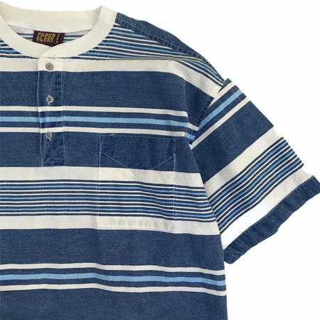 Faded Glory / Henley Neck Cotton Multi Border Tee / Used