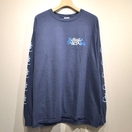 TACO RIDE   × Color at Against / SUSHIGA TABETAIDES L/S T-SHIRT / Navy
