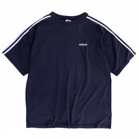 90's adidas / 3 Line Tee / Navy / Used