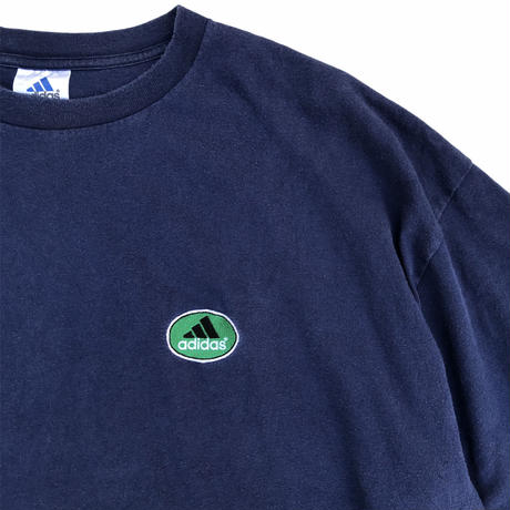 Made in USA / 90's adidas / One Point Embroidered Tee / Navy / Used