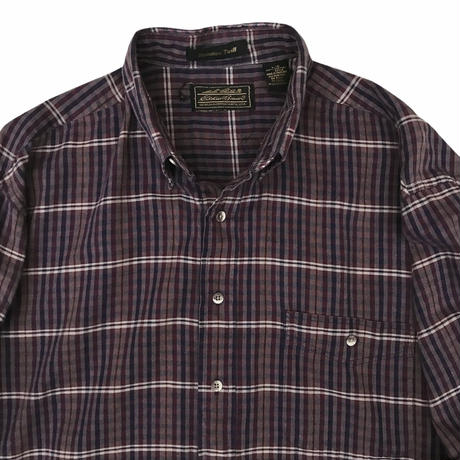 80's Eddie Bauer / Cotton Multi Check B.D. Shirt / Used