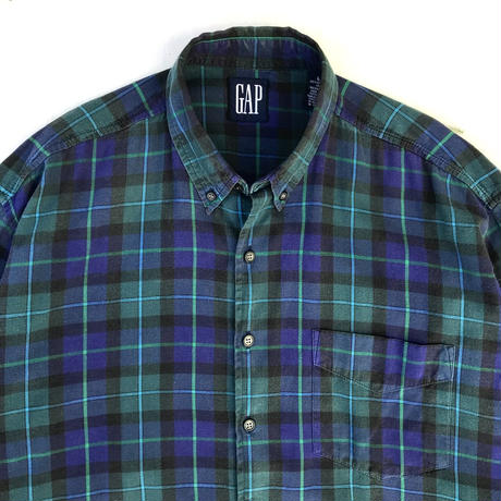 OLD GAP / Cotton B.D Check Shirt / Black Watch / Used