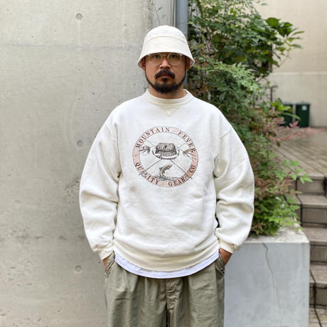 Made in USA / 90's Trout Fishing Sweat / White M / Used