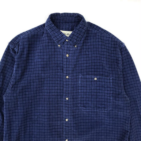 90's Eddie Bauer / L/S Check Shirt / Navy / Used