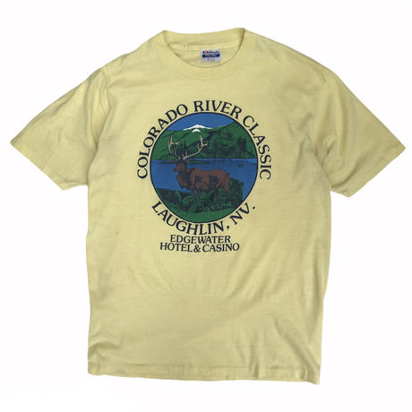 Made in USA / 80's Hanes / COLORADO RIVER CLASSIC Wild Tee / Lt.Yellow / Used