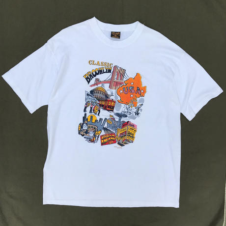 "Made in USA / 90s ""BROOKLYN""Tee / White / Used"