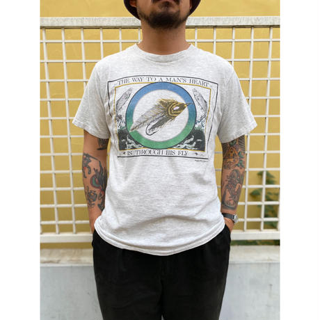 Made in USA / 90's Lee  / Fly Fishing Tee / Ash / Used