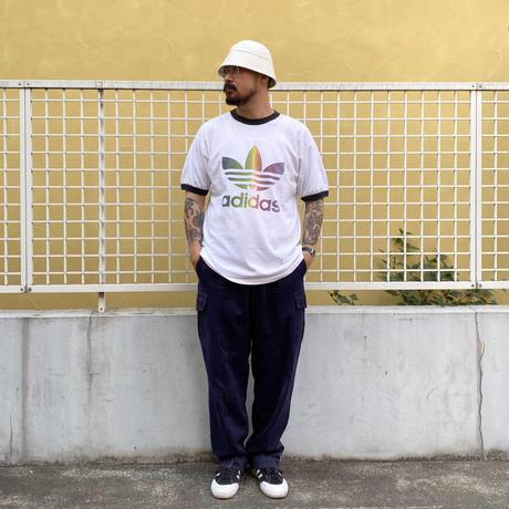 90's adidas / Logo Trim Tee / White / Used