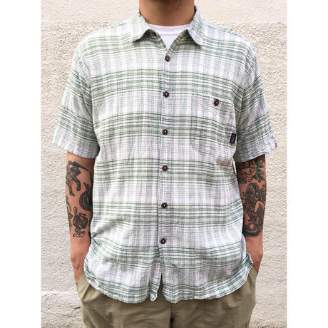 Patagonia / S/S Organic Cotton Check Shirt / Green × White / Used
