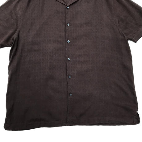 S/S Open Collar Silk Shirt / Brown / Used