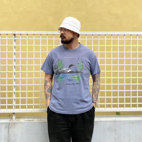 Made in USA / 90's Phillips Lake Tee / Blue Grey / Used