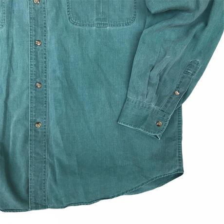 "80's Eddie Bauer / 2Pocket ""Ruston Twill"" Shirt / Green / Used"