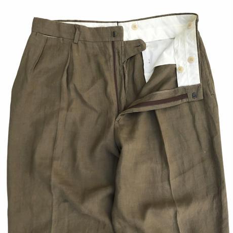 90s Polo Ralph Lauren  / Linen 2 Tuck Slacks / Khaki / Used