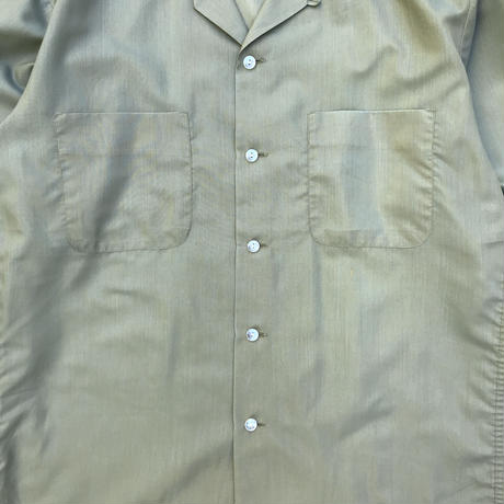 Made in USA / 70s McGREGOR / L/S Open Collar Shirt / Lt.Green / Used