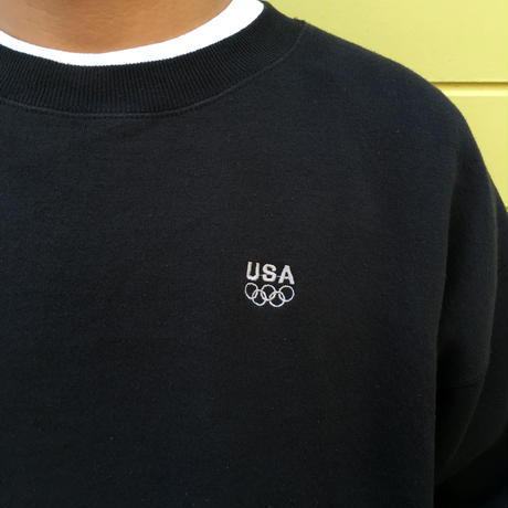 Made in USA / Olympic  L/S Logo Sweat Shirt /  Black  / Used