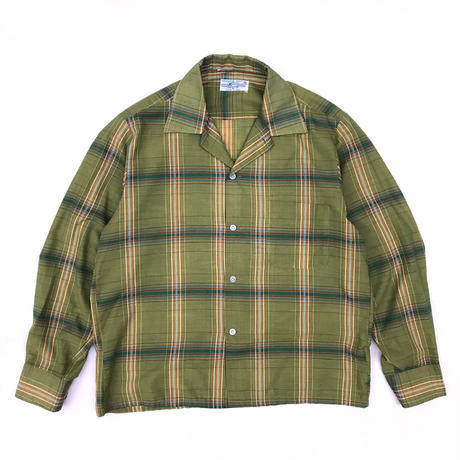 Vintage  L/S Open Collar Shirt / Green Tea / Used