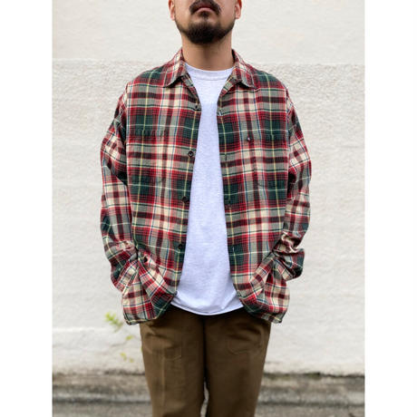 Polo Jeans / Cotton Open Collar Check Shirt / Green × Red Check / Used