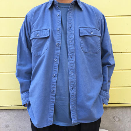 Made in USA / 80s L.L.Bean / Chamois Cloth Shirt /  Lt.Blue  / Used