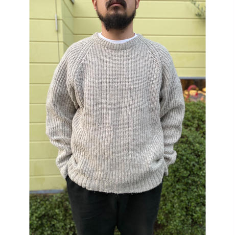 80s Eddie Bauer / Waffled Knit Sweater / Ivory / Used