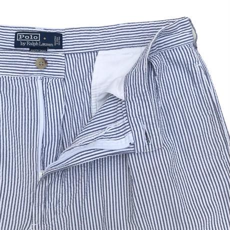 90's Polo by Ralph Lauren / Seersucker 2Tuck Shorts / White × Lt.Blue / Used(35)