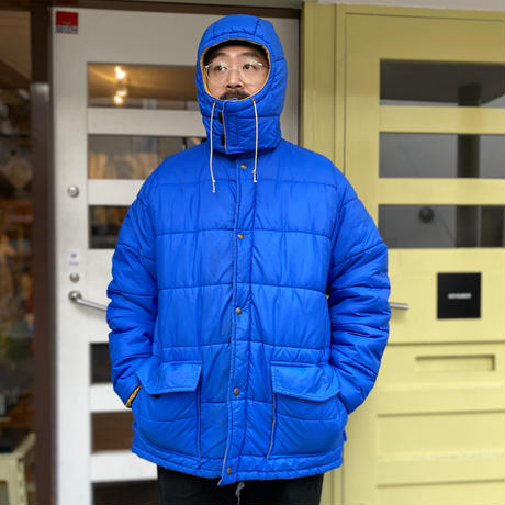 80s eddie Bauer / Full Zip Fill Nylon Jacket / Blue × Yellow / Used