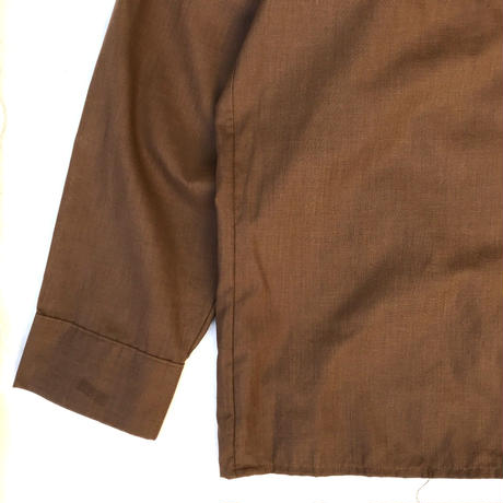 60-70s Mcgregor / Vintage Open Collar Shirt / Brown / Used