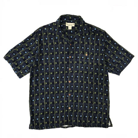 S/S Open Collar Silk Shirt / Black / Used