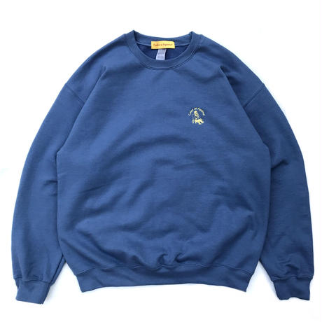 Color at Against Originals / Mister Embroidered Crew Sweat / Indigo Blue