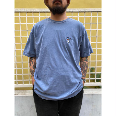Color at Against Originals / Mr.Chicken Embroidery Tee / Indigo Blue,Forest