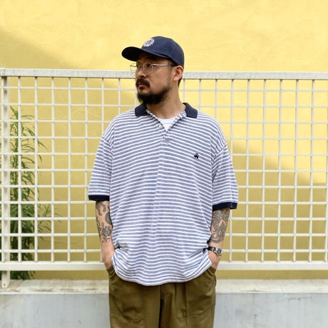 Made in USA / Brooks Brothers / Border Polo Shirt / Navy × White / Used