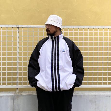 90's adidas / Nylon Sport Jacket / White × Black / Used