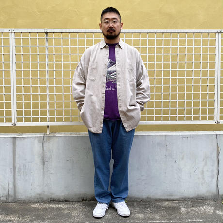 90's Eddie Bauer / 2 Pocket Cotton Solid Shirt / Beige / Used