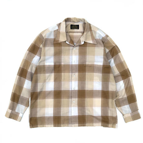 Made in JAPAN / 60-70s Sears /  L/S Open Collar Check Shirt / Beige / Used