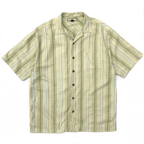 S/S Open Collar Stripe Silk Shirt / Lime / Used