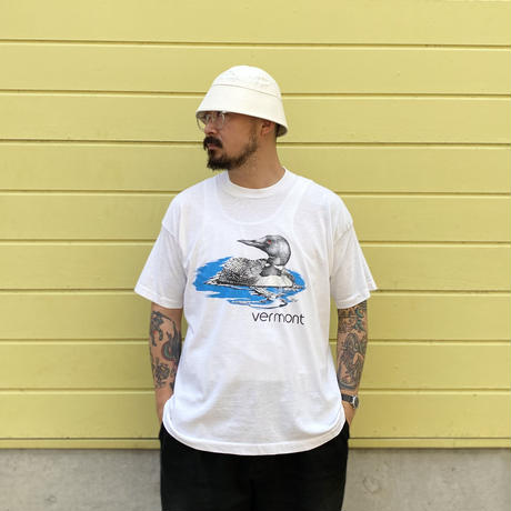 """Made in USA / 90's Vermont """"Cormorant"""" Tee / White / Used"""