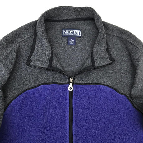 LANDS'END / Full Zip 2tone Fleece Jacket / Purple×Grey / Used