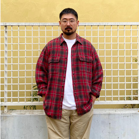 90s GAP / 2 Pocket Cotton Check Flannel Shirt / Black × Red XL / Used